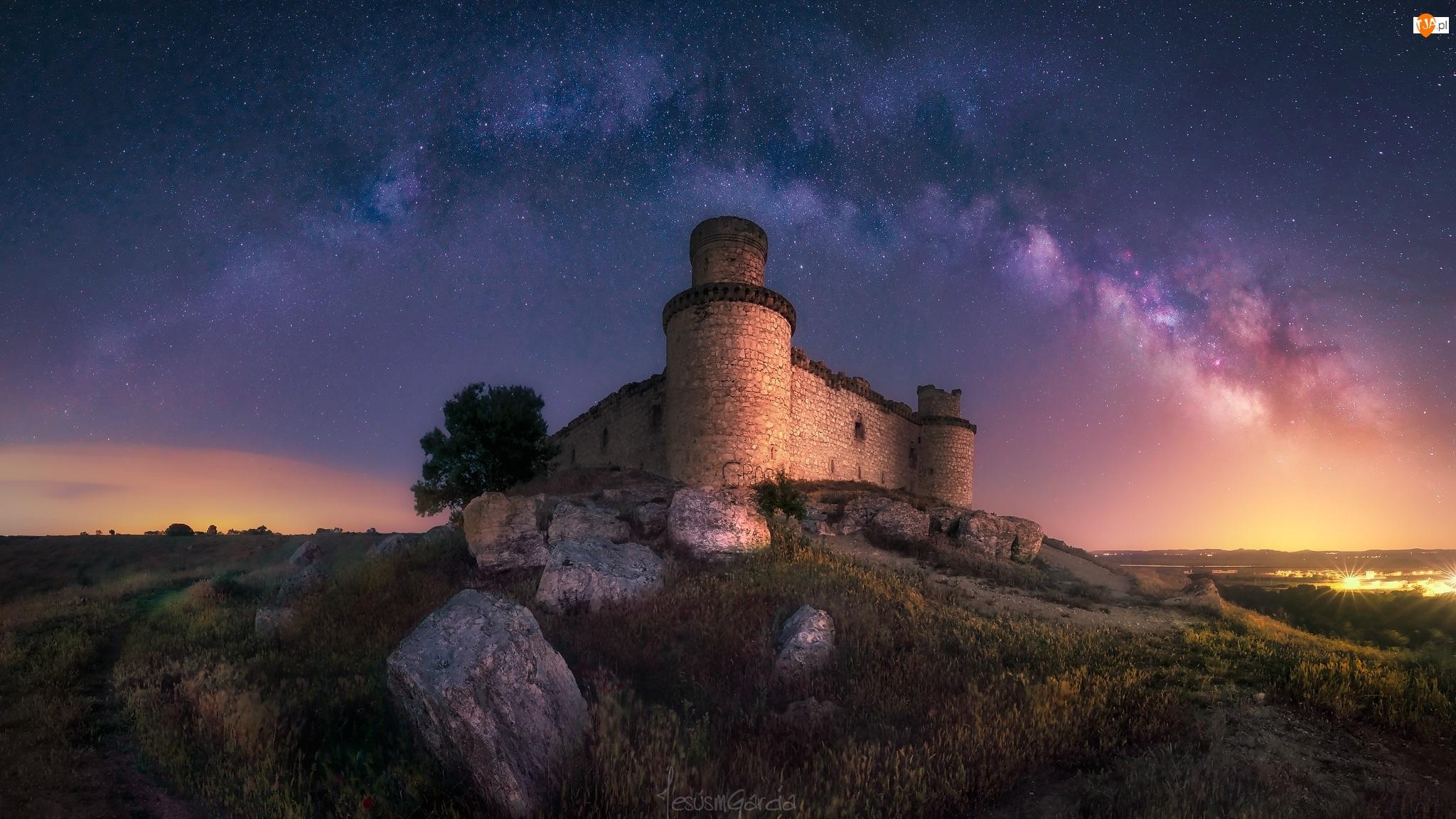 Toledo, Hiszpania, Noc, Droga Mleczna, Zamek Barcience, Gwiazdy