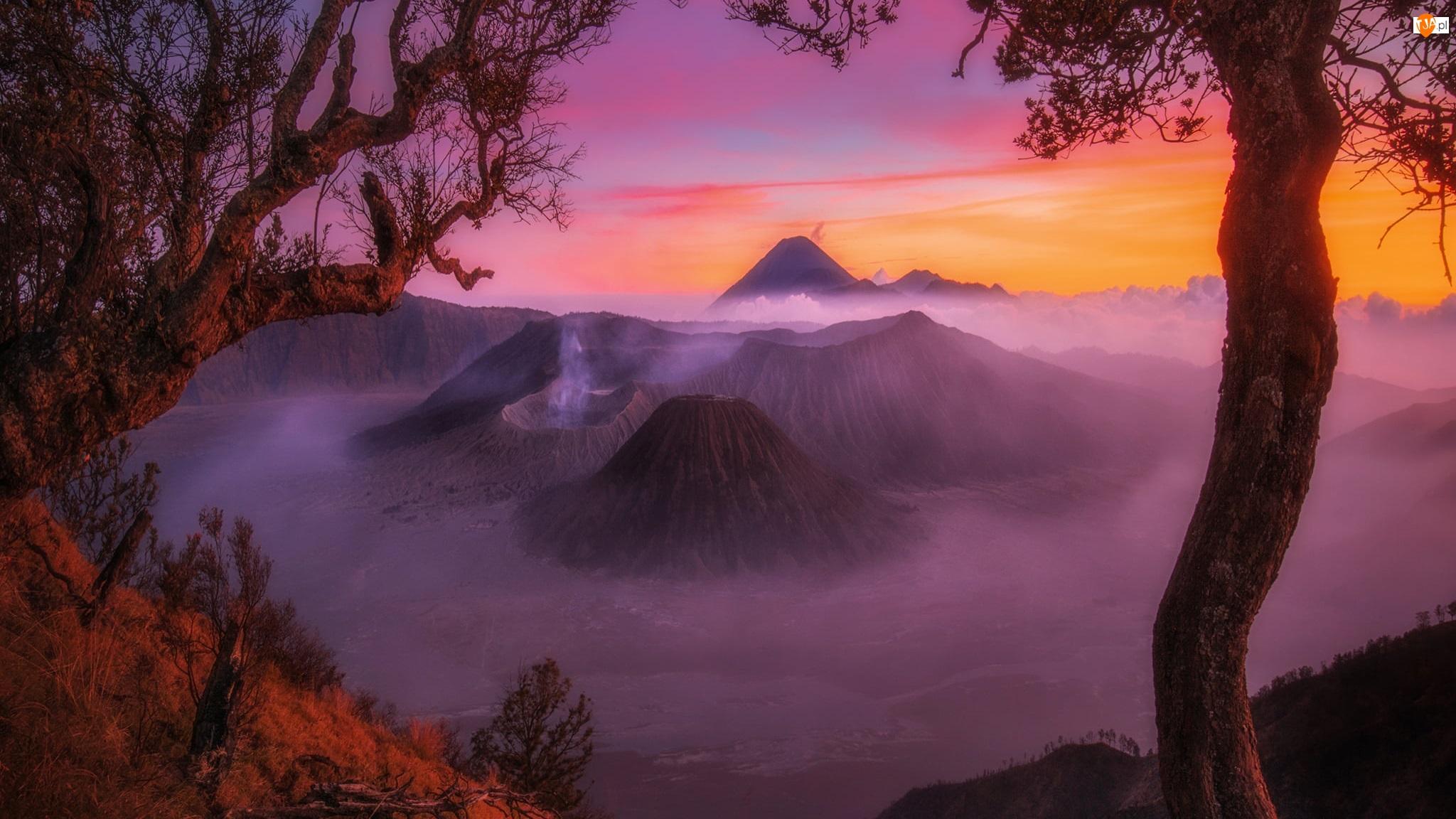 Wulkany, Góry, Wyspa Jawa, Zachód słońca, Mount Bromo, Indonezja