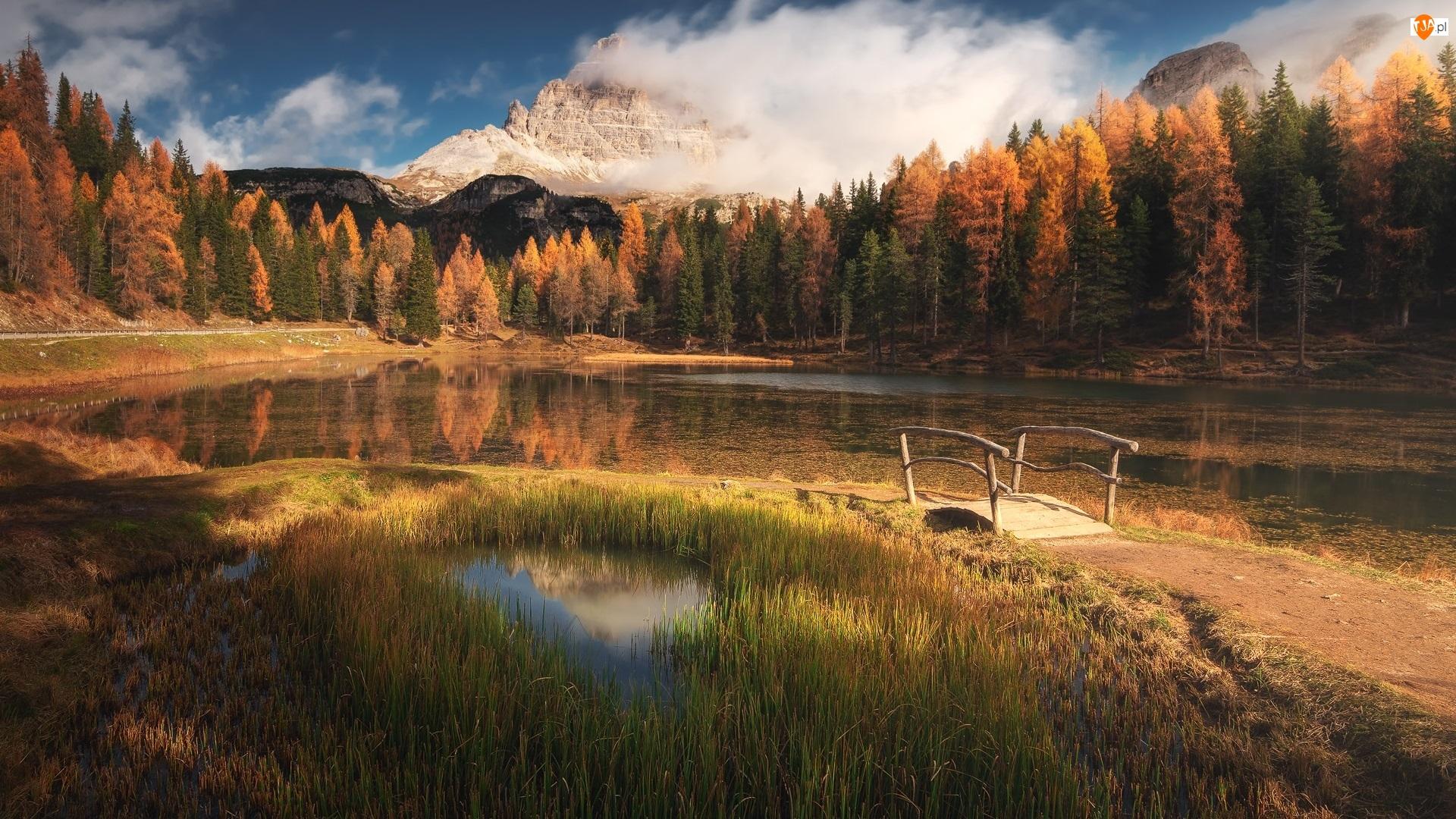Włochy, Drzewa, Jesień, Alpy, Antorno Lake, Jezioro, Góry, Mostek, Dolomity, Chmury