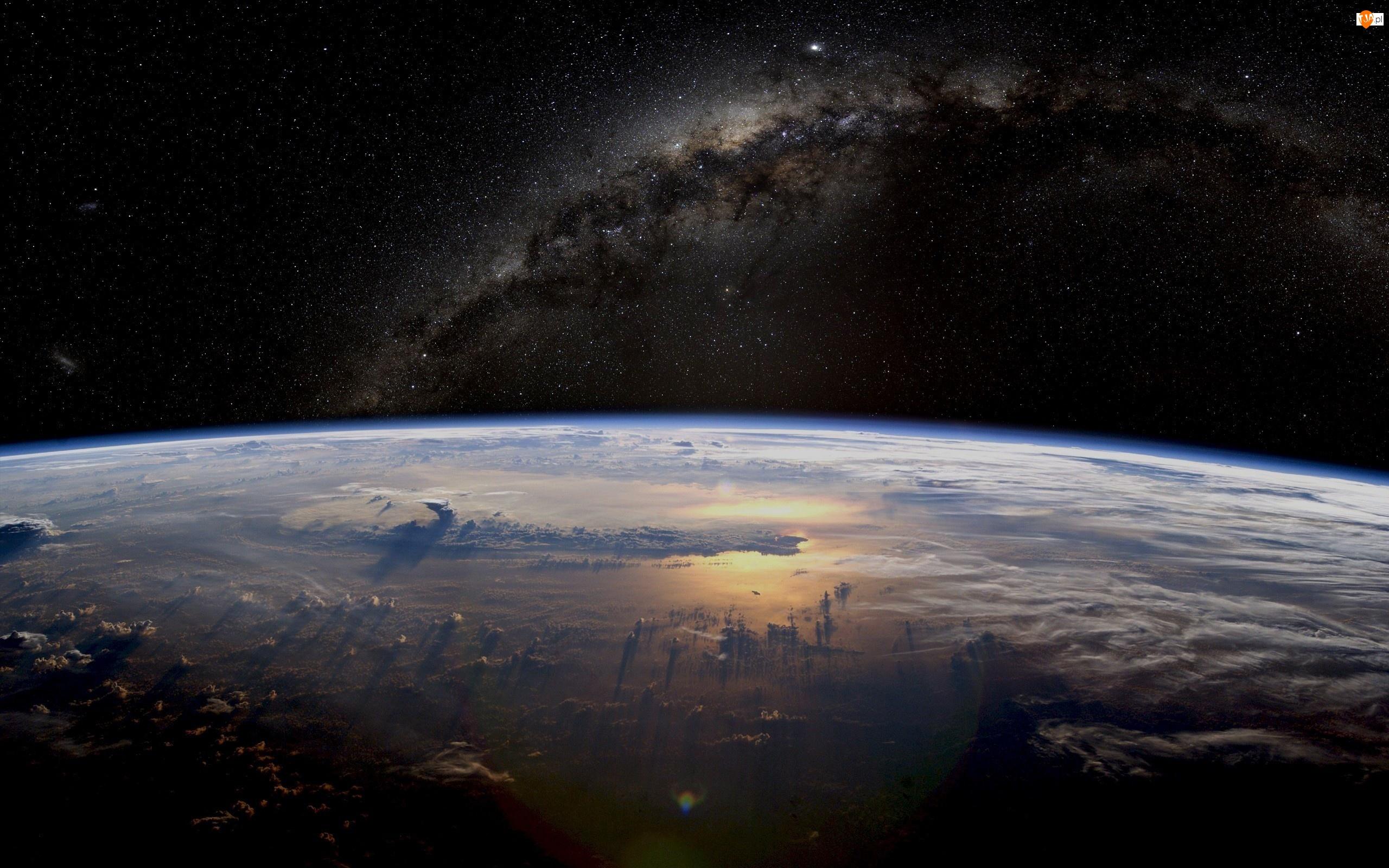 Planeta, Kosmos, Gwiazdy, Zdjęcie z satelity, Ziemia, Droga Mleczna