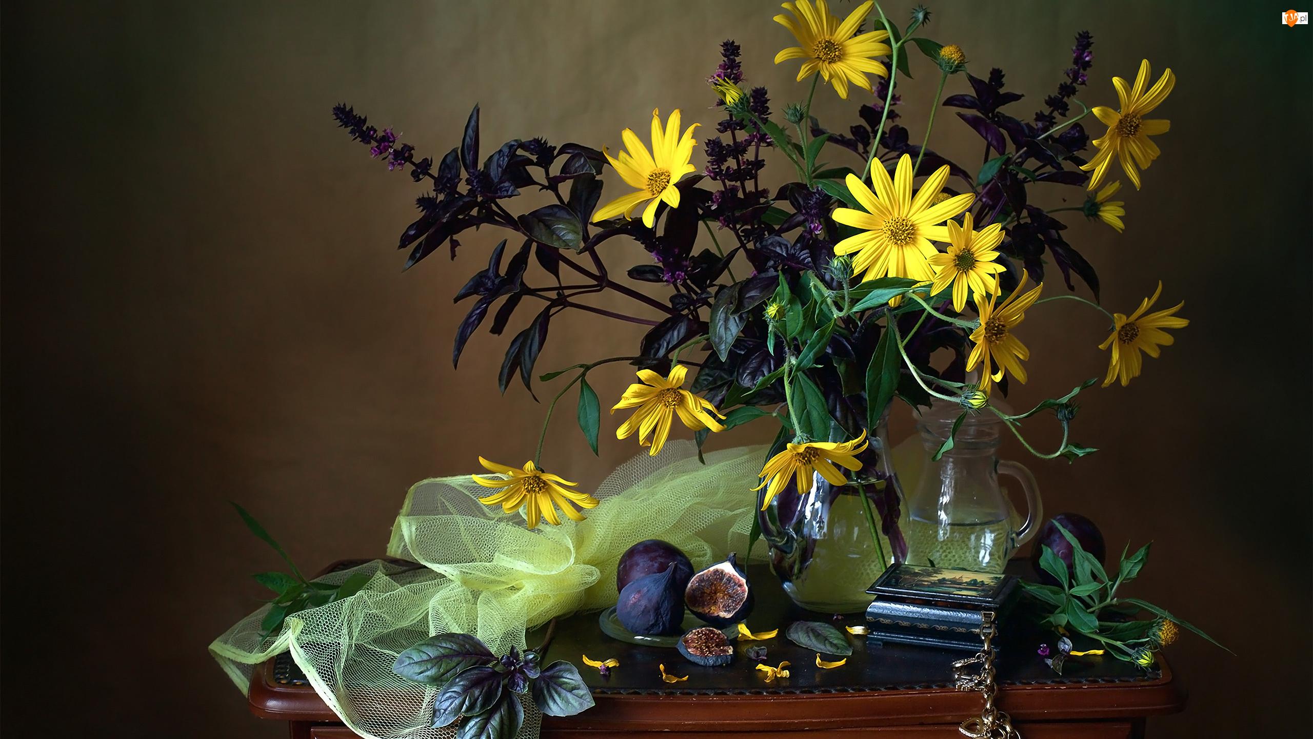 Żółte, Kompozycja, Bukiet, Figi, Kwiaty, Owoce