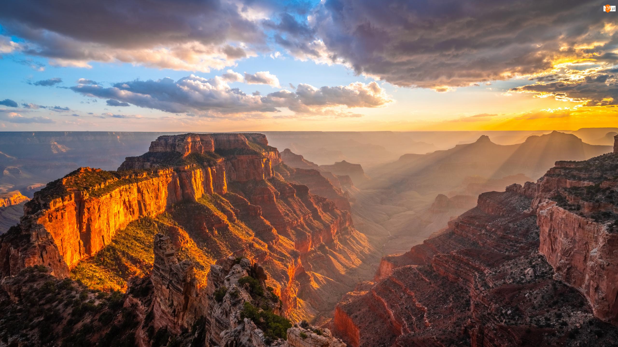 Wielki Kanion Kolorado, Góry, Stany Zjednoczone, Park Narodowy Wielkiego Kanionu, Chmury, Zachód słońca, Skały