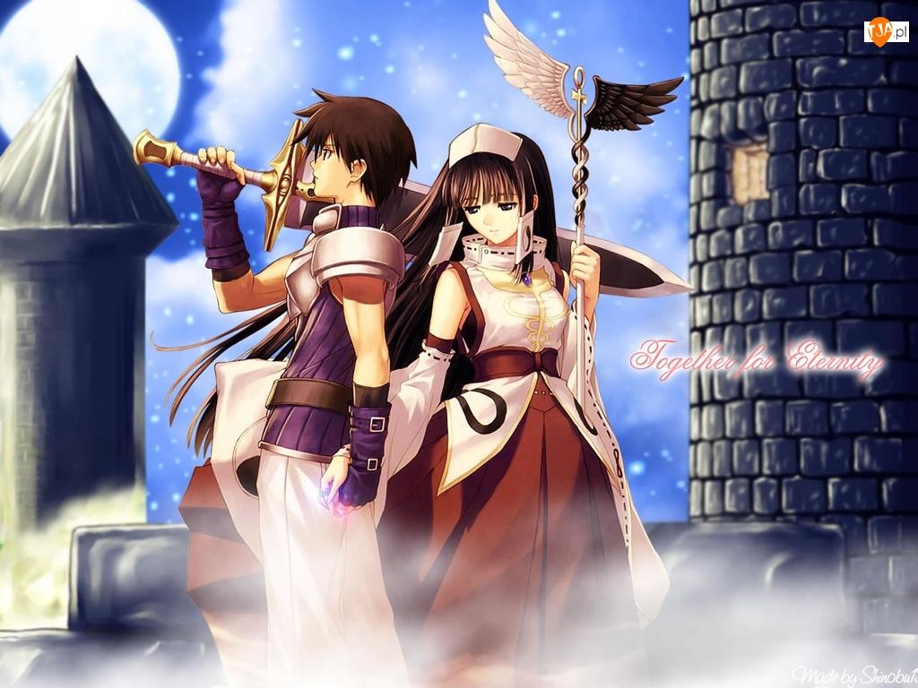 miecz, mężczyzna, postacie, Shining Tears, wieża, kobieta, zamek