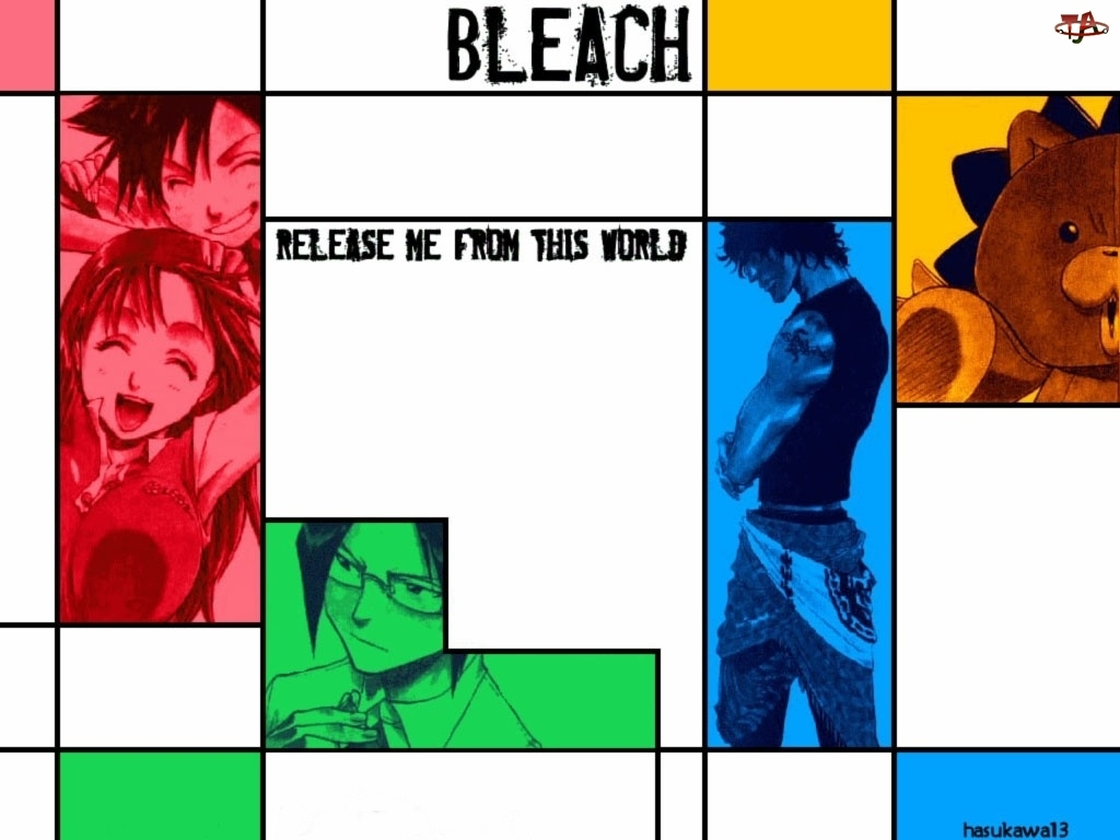 plakat, Bleach, miś, ludzie, fotki