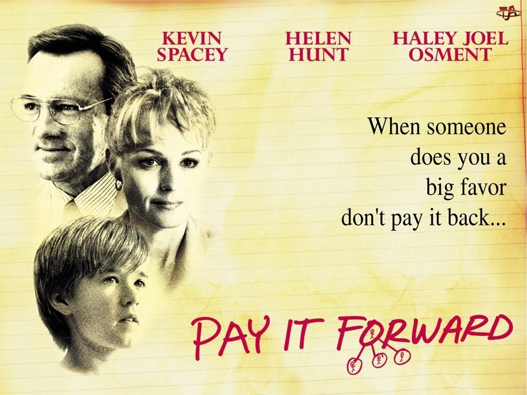 kartka, Pay It Forward, Haley Joel Osment, Kevin Spacey, Helen Hunt