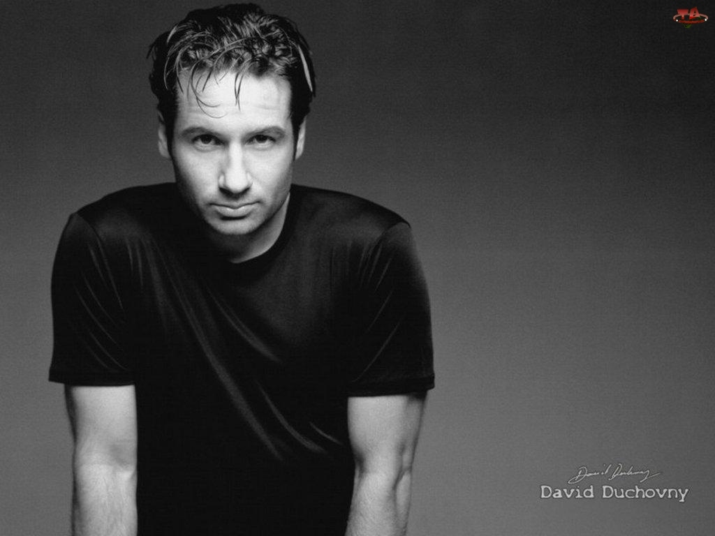 David Duchovny, czarny t-shirt