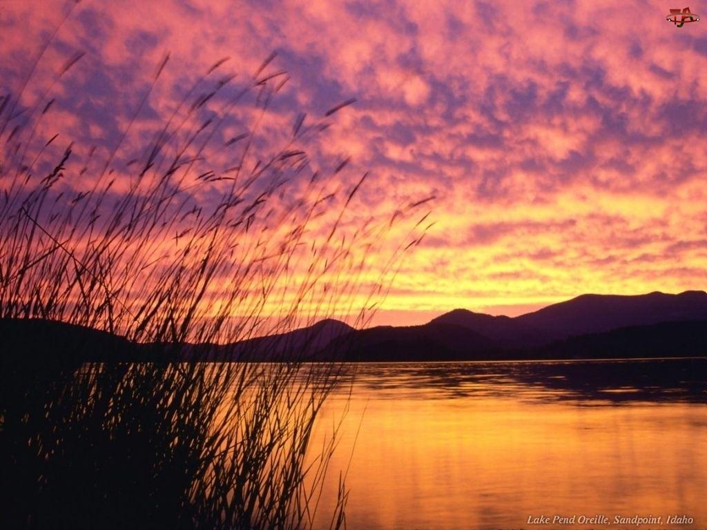 Rzeka, Zachód Słońca, Chmura