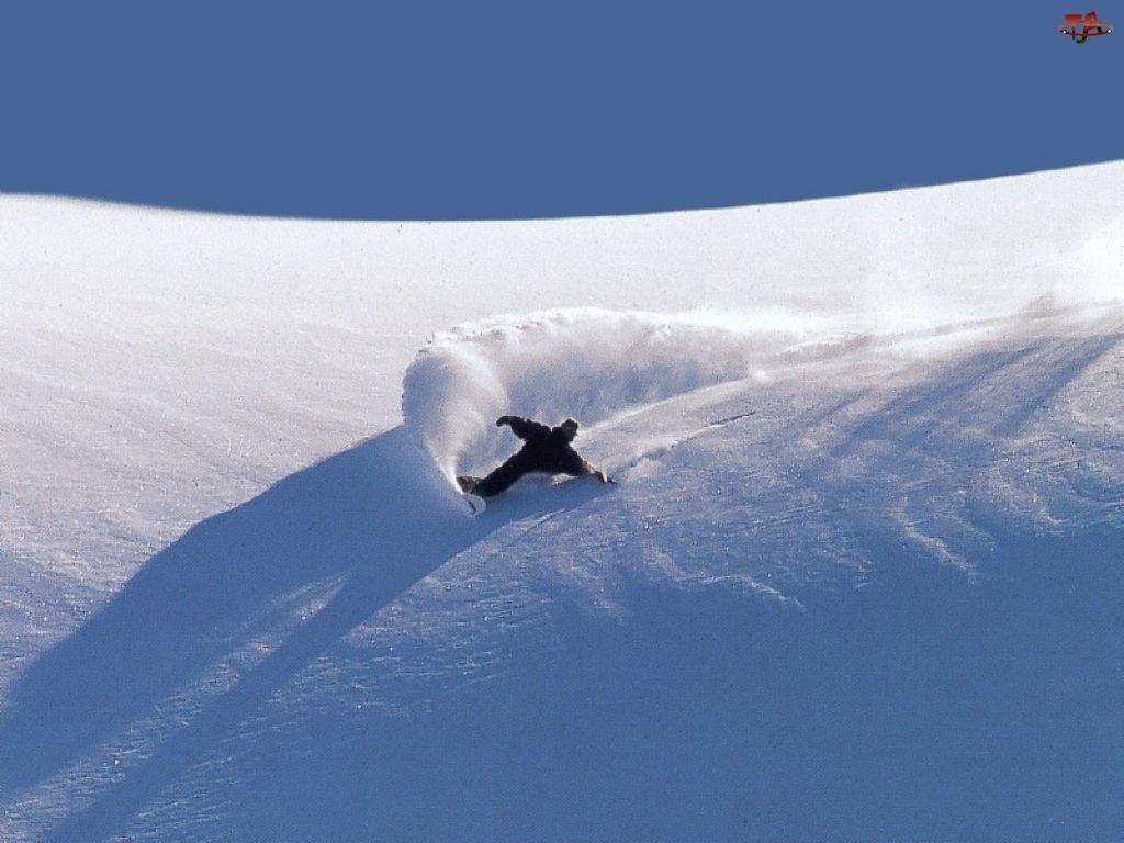 Snowbording, śnieg, deska, snowboardzista