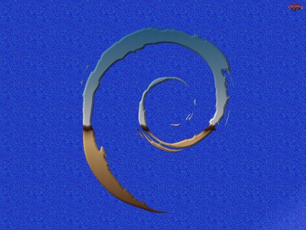Linux Debian, grafika, ślimak, muszla, zawijas
