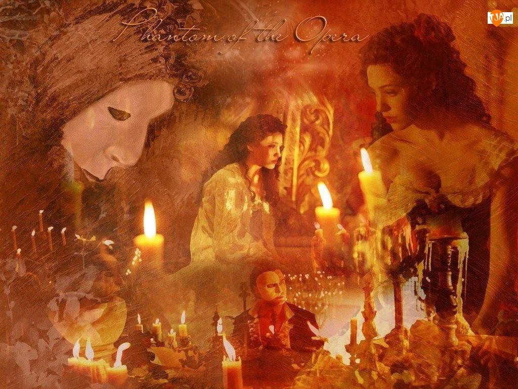 maska, Phantom Of The Opera, smutna, Emmy Rossum, świece