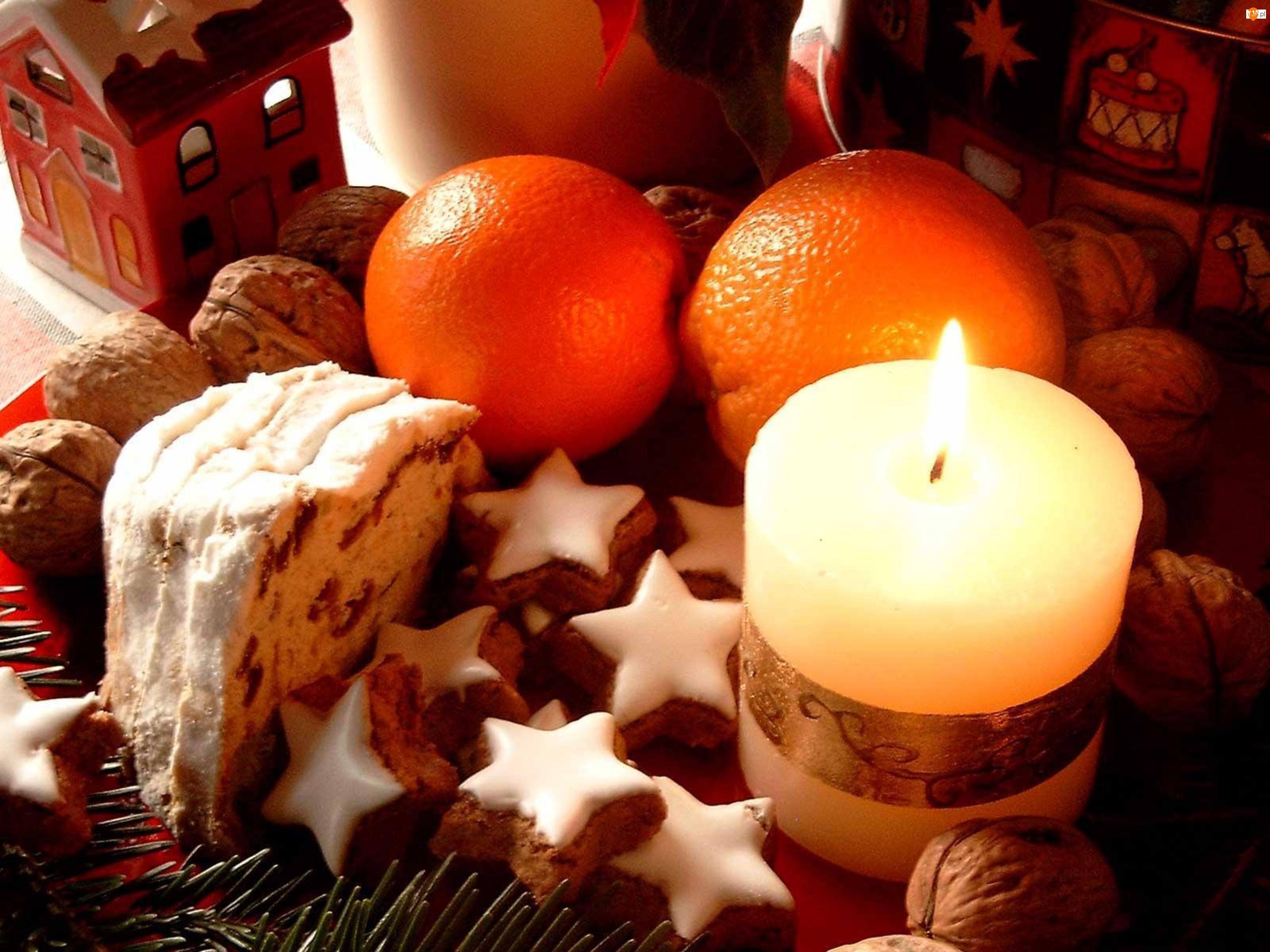 Pierniczki, Pomarańcze, Boże, Kompozycja, Narodzenie, Świeczka