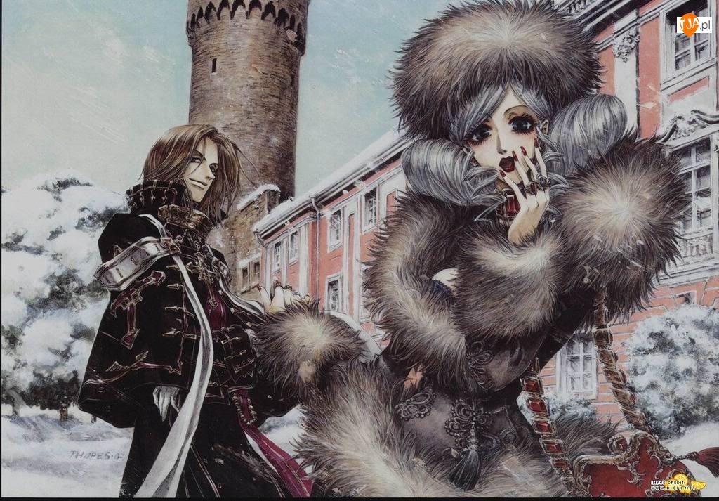 zima, Trinity Blood, futro, postacie, zamek