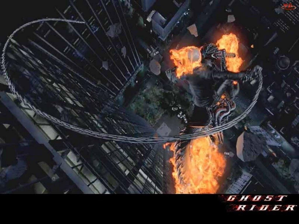 Ghost Rider, postać, wieżowce, ogień