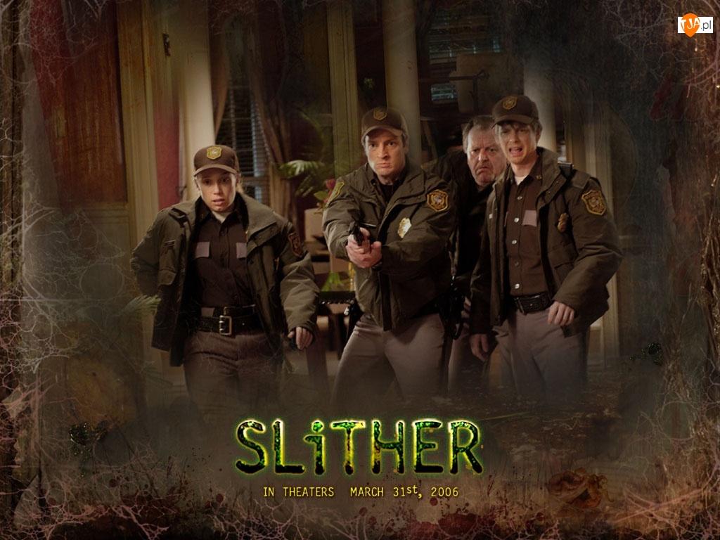 Slither, napis, policja, dom