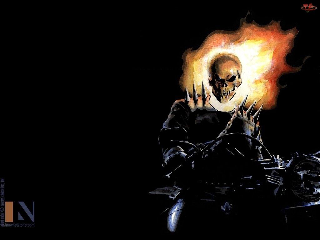Postać, Ghost Rider, Czarne, Motor, Tło