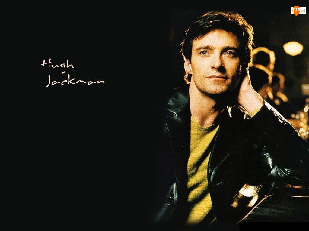 Hugh Jackman, czarna kurtka