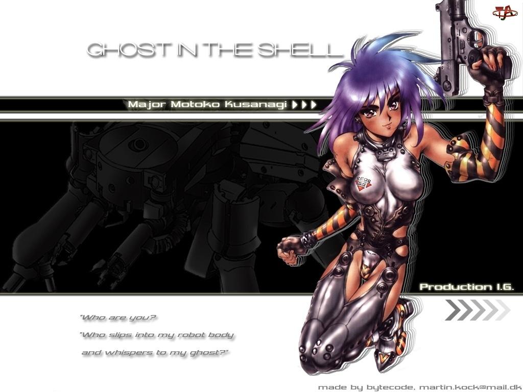 kobieta, Ghost In The Shell, robot, pistolet