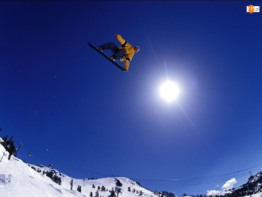 słońce, Snowbording, snowboardzista, deska, śnieg