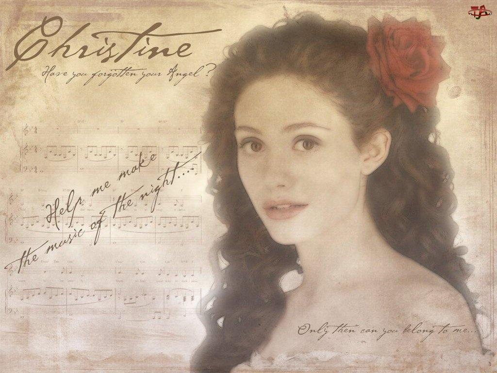 kwiat, Phantom Of The Opera, włosy, Emmy Rossum, nuty