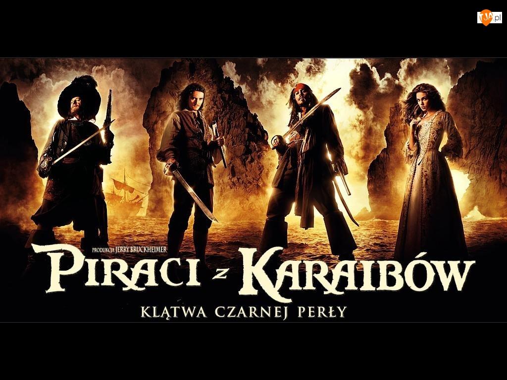 szable, Piraci Z Karaibów, woda, postacie, dym