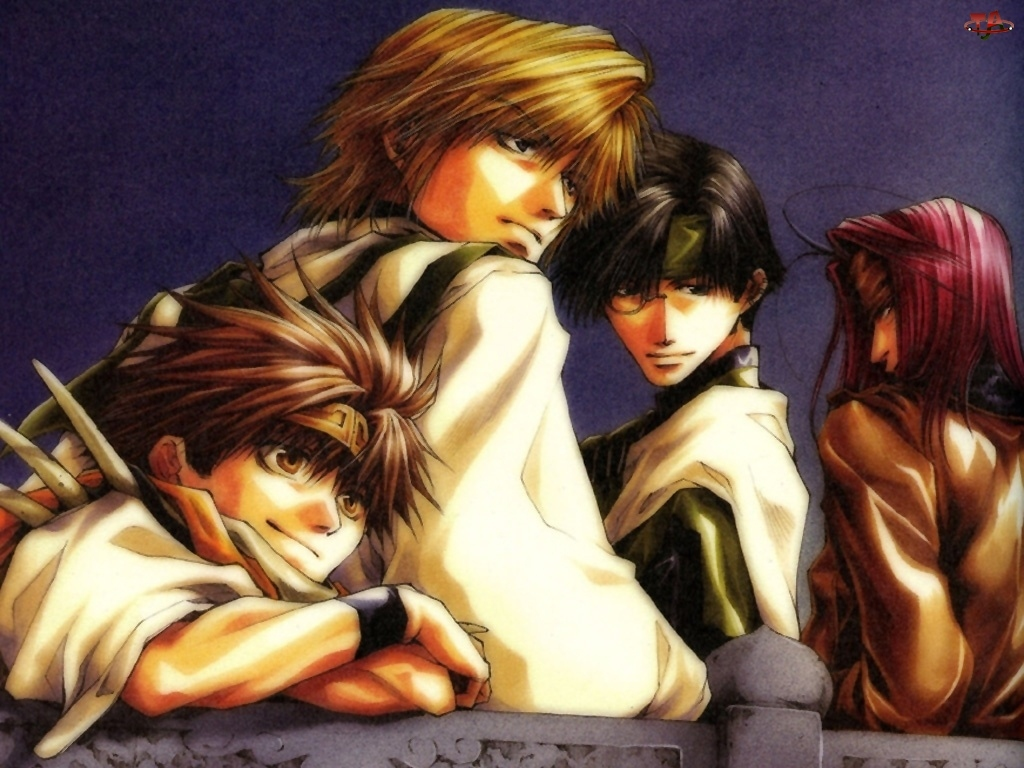 postacie, Saiyuki, fioletowe tło