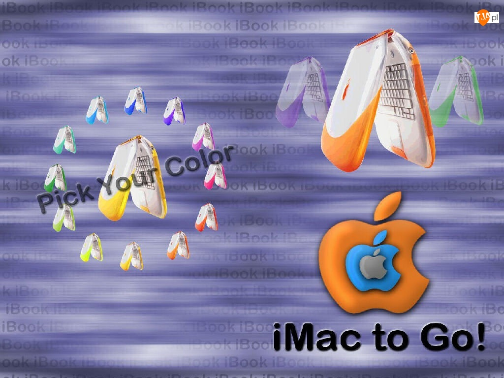 Apple, laptop, grafika, jabłko