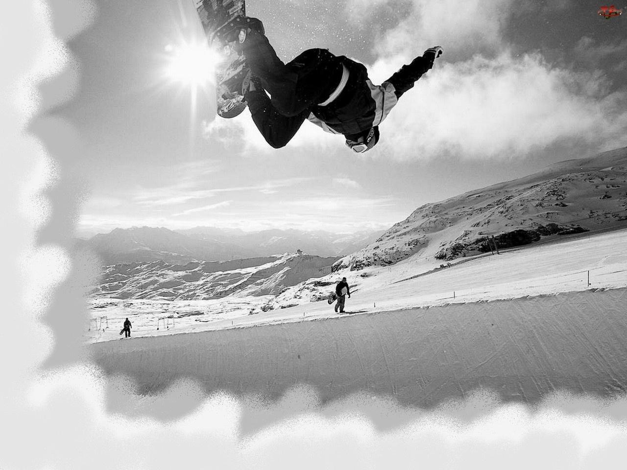 słońce, Snowbording, śnieg, deska , zima
