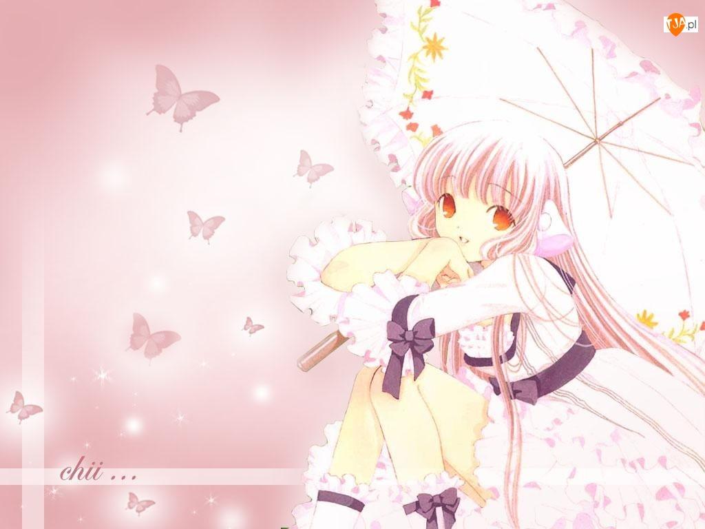 Chobits, Parasolka, motyle, Dziewczyna