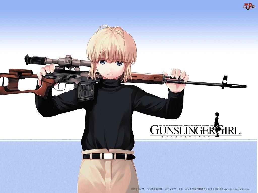 Gunslinger Girl, broń, snajper, osoba