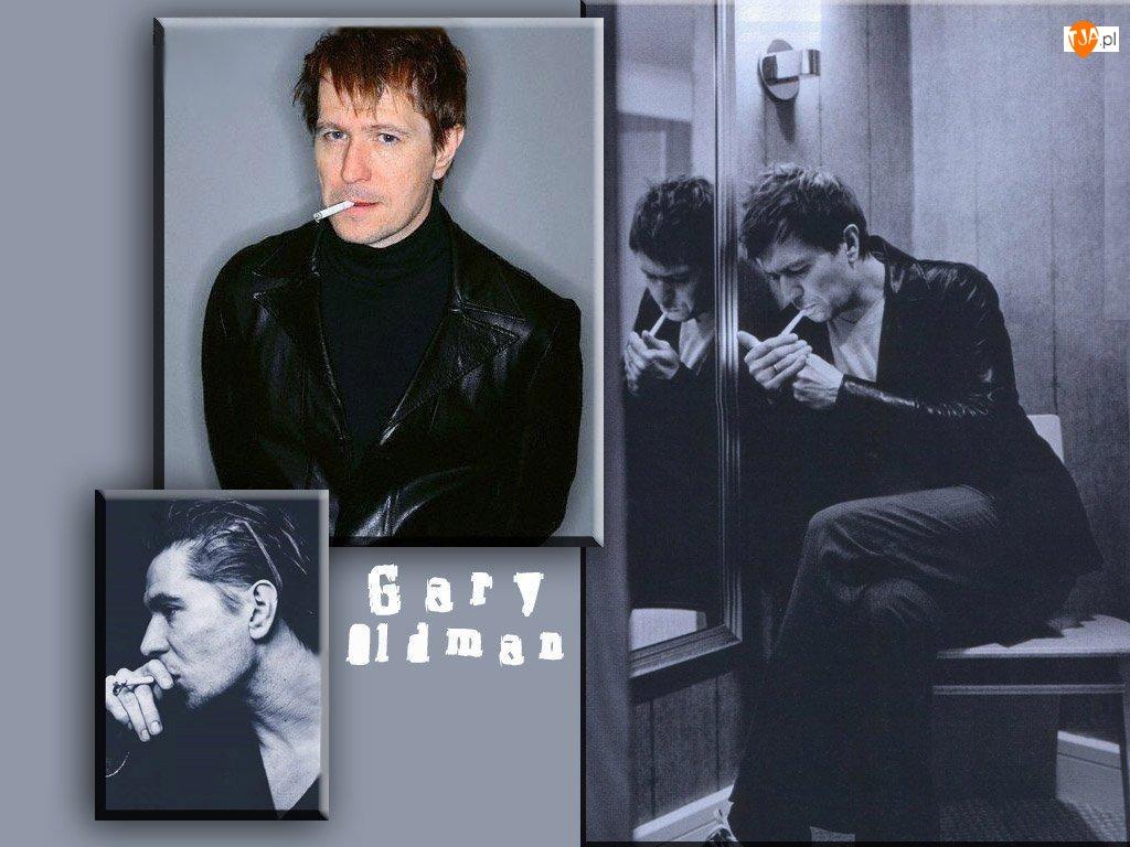 papieros, Gary Oldman, czarna kurtka