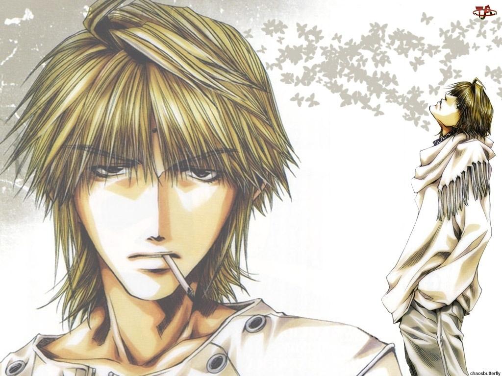 Saiyuki, papieros, ludzie, motyle