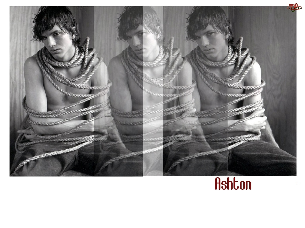 sznurem, Ashton Kutcher, związany