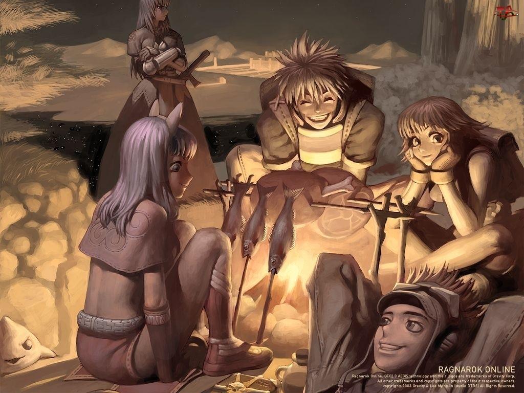 Ragnarok, ludzie, ryby, ognisko