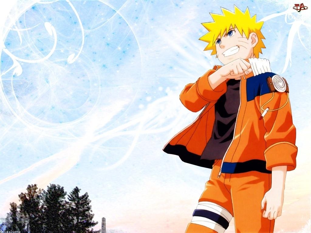 pomarańczowa kurtka, Naruto, opaska na nodze