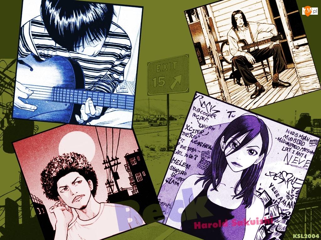 Beck, plakaty, gitara, postacie