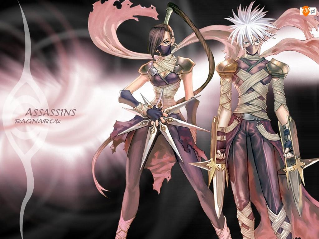 mężczyzna, wojownik, postacie, Ragnarok, kobieta, sztylet