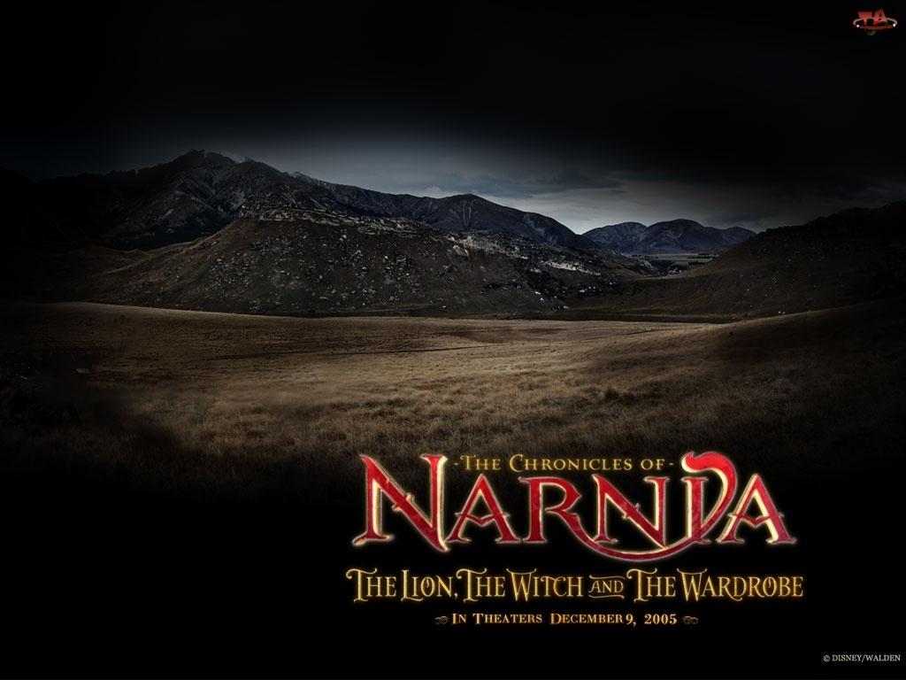 pustkowie, The Chronicles Of Narnia, niebo, góry, napis