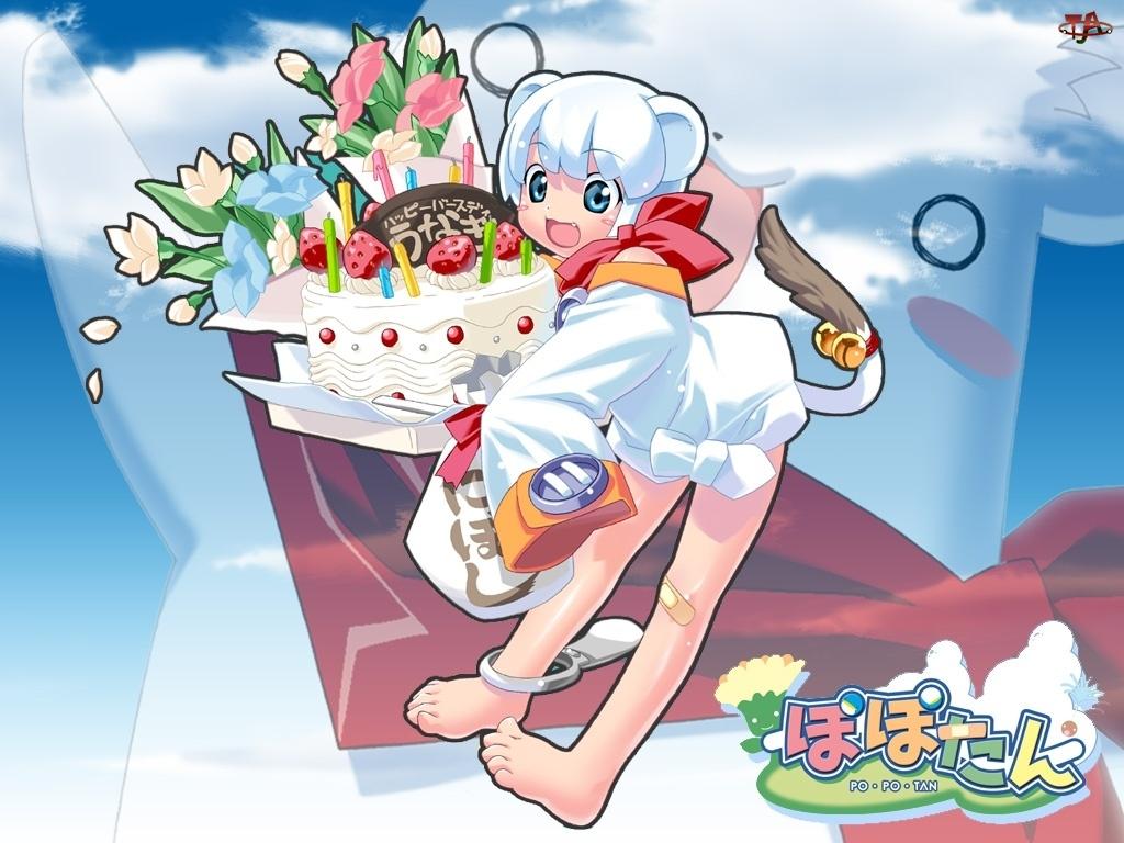 Popotan, kwiaty, kobieta, tort