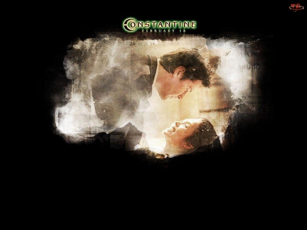 Constantine, dym, Keanu Reeves, kobieta