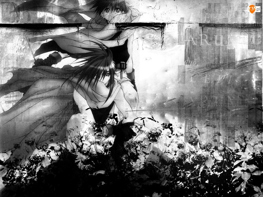 D N Angel, kwiaty, mur, dziewczyny
