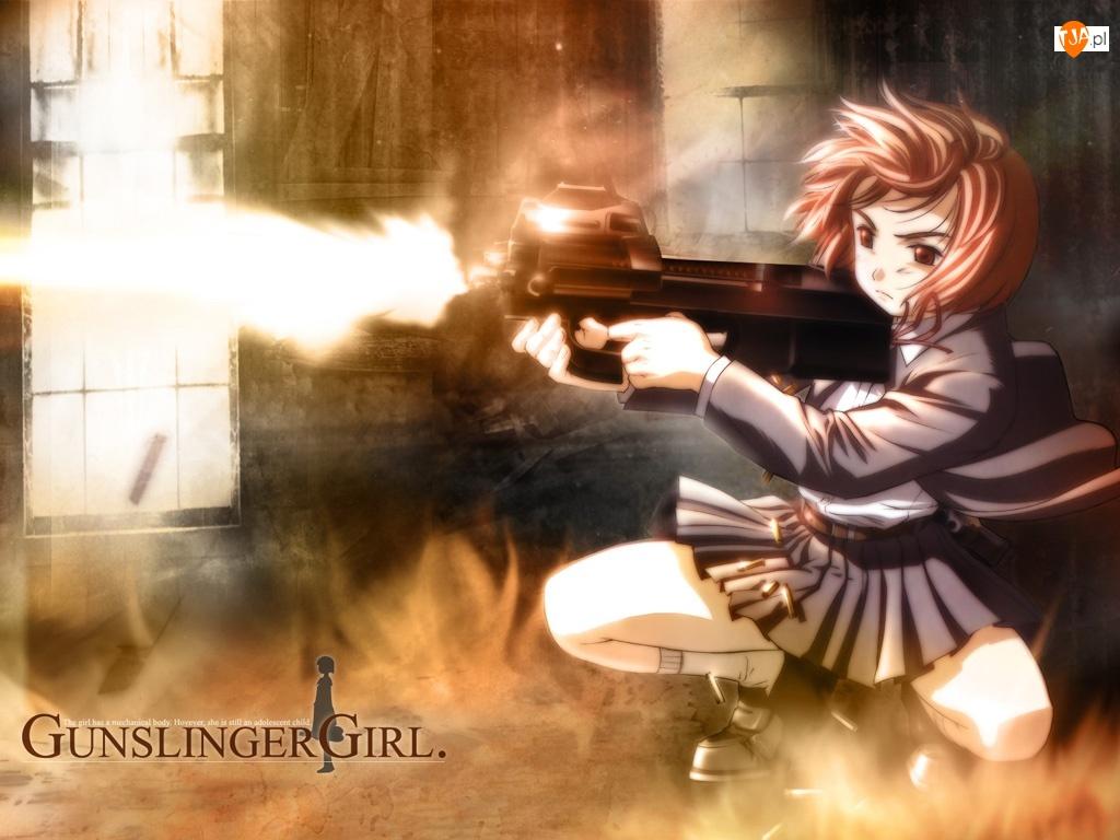 spódniczka, Gunslinger Girl, strzał, kobieta, karabin