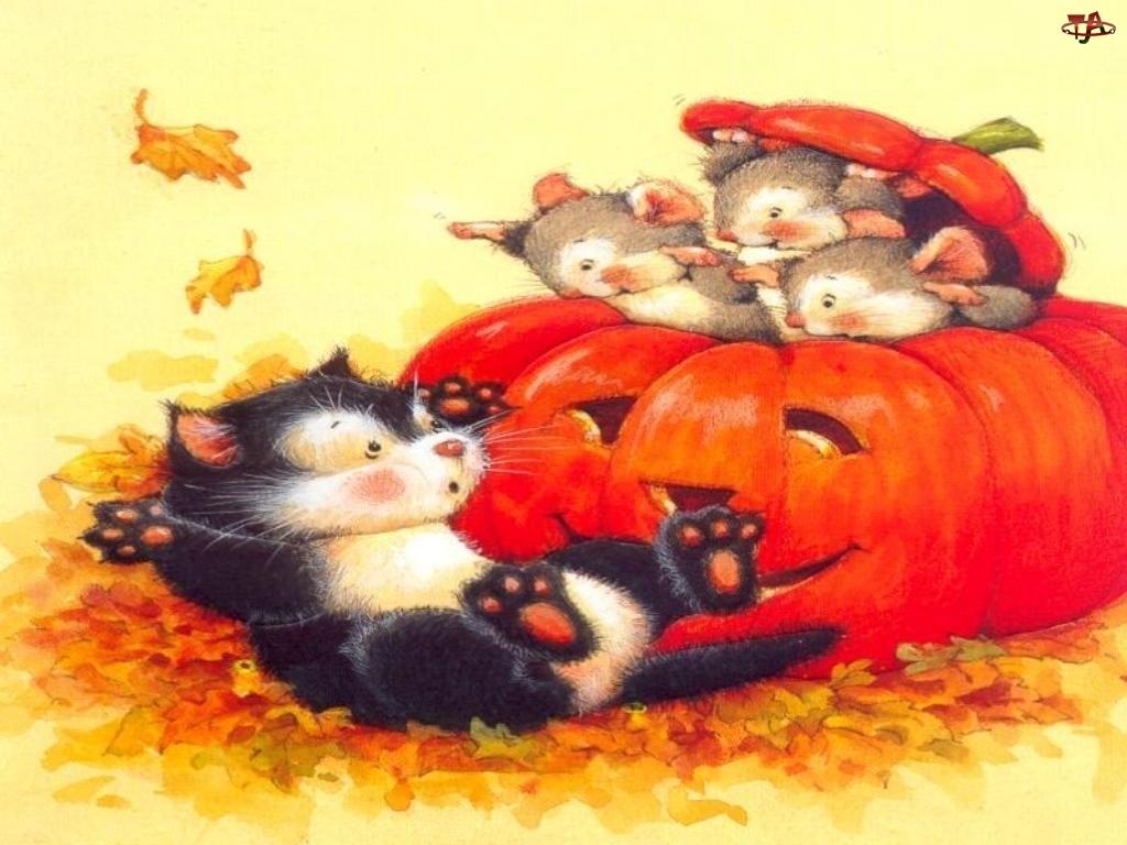 Halloween, myszki w dyni