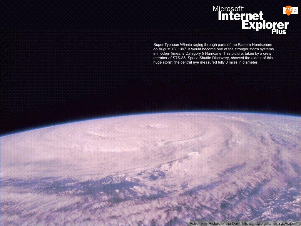 Internet Explorer, chmury, ziemia, cyklon