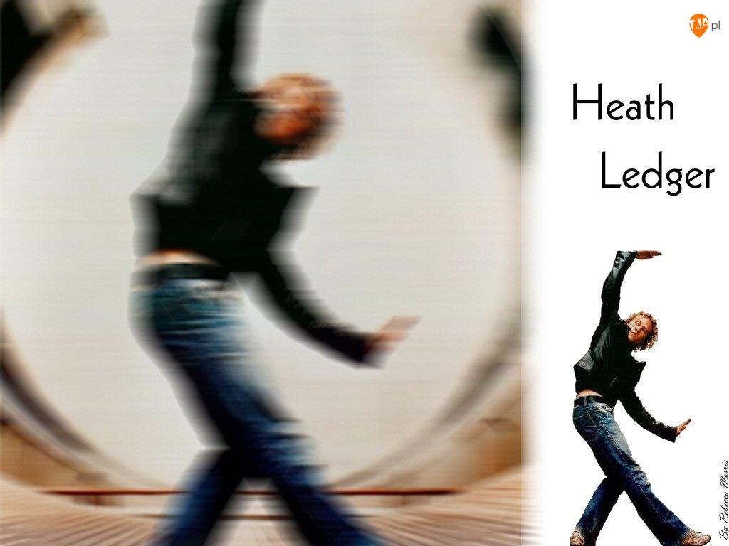 jeansy, Heath Ledger, czarna kurtka