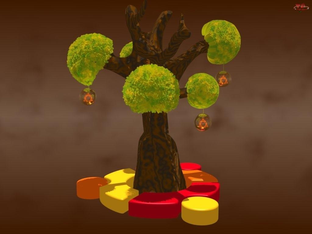 ludzie, drzewo, Ubuntu, grafika, symbol, krąg