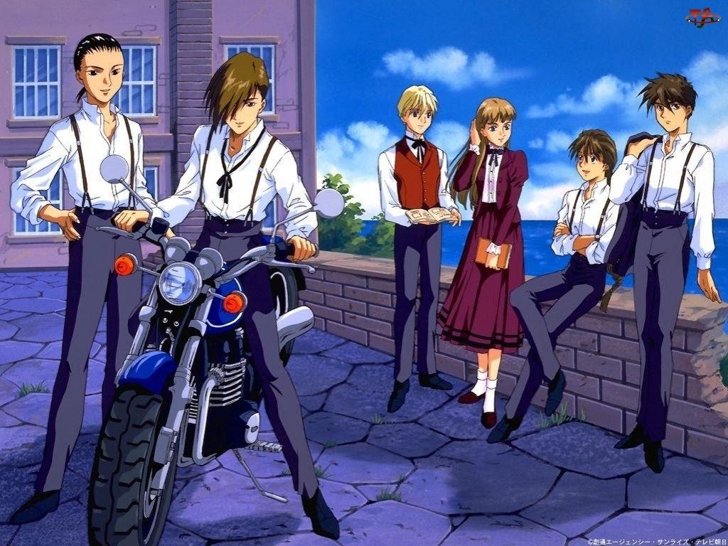 Gundam Wing, motor, ludzie, mur