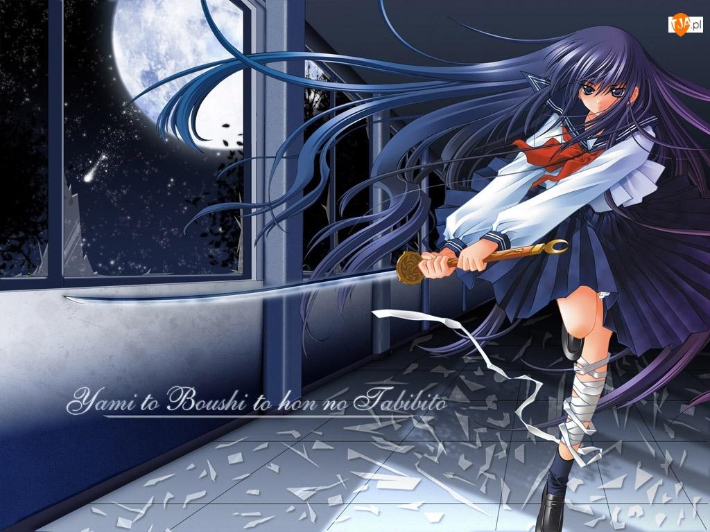 Yami To Boushi To Hon No Tabibito, miecz, dziewczyna, księżyc