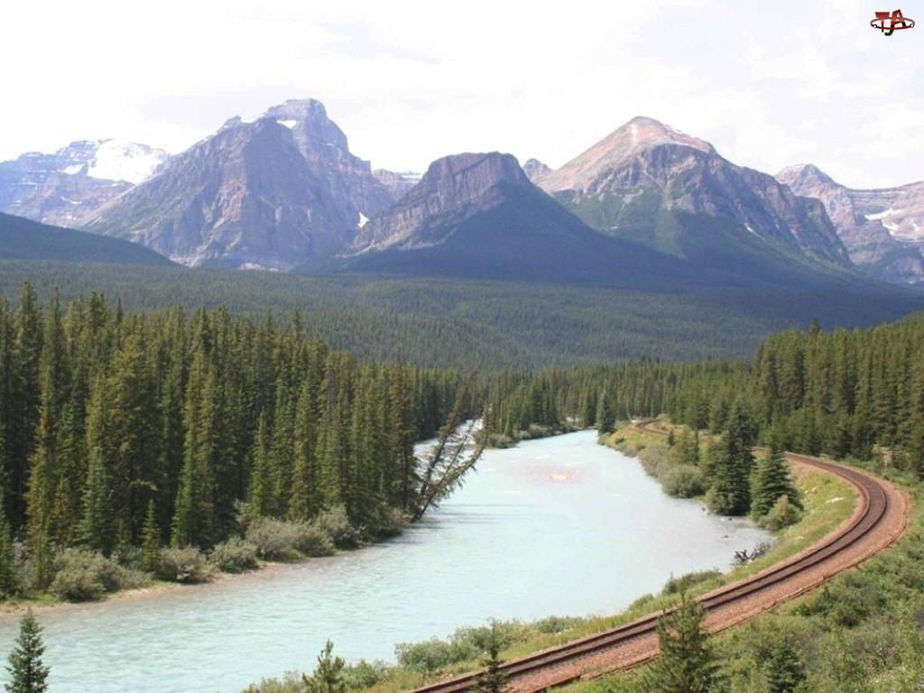 Góry, Tory kolejowe, Las, Rzeka