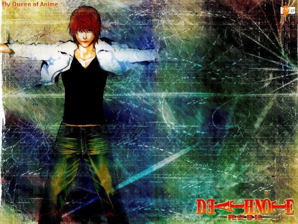 Death Note, chłopak, spodnie, kurtka