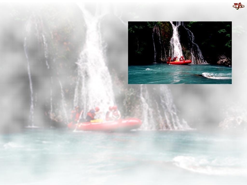 rzeka, ponton , Rafting, wodospad, spływ, wiosła